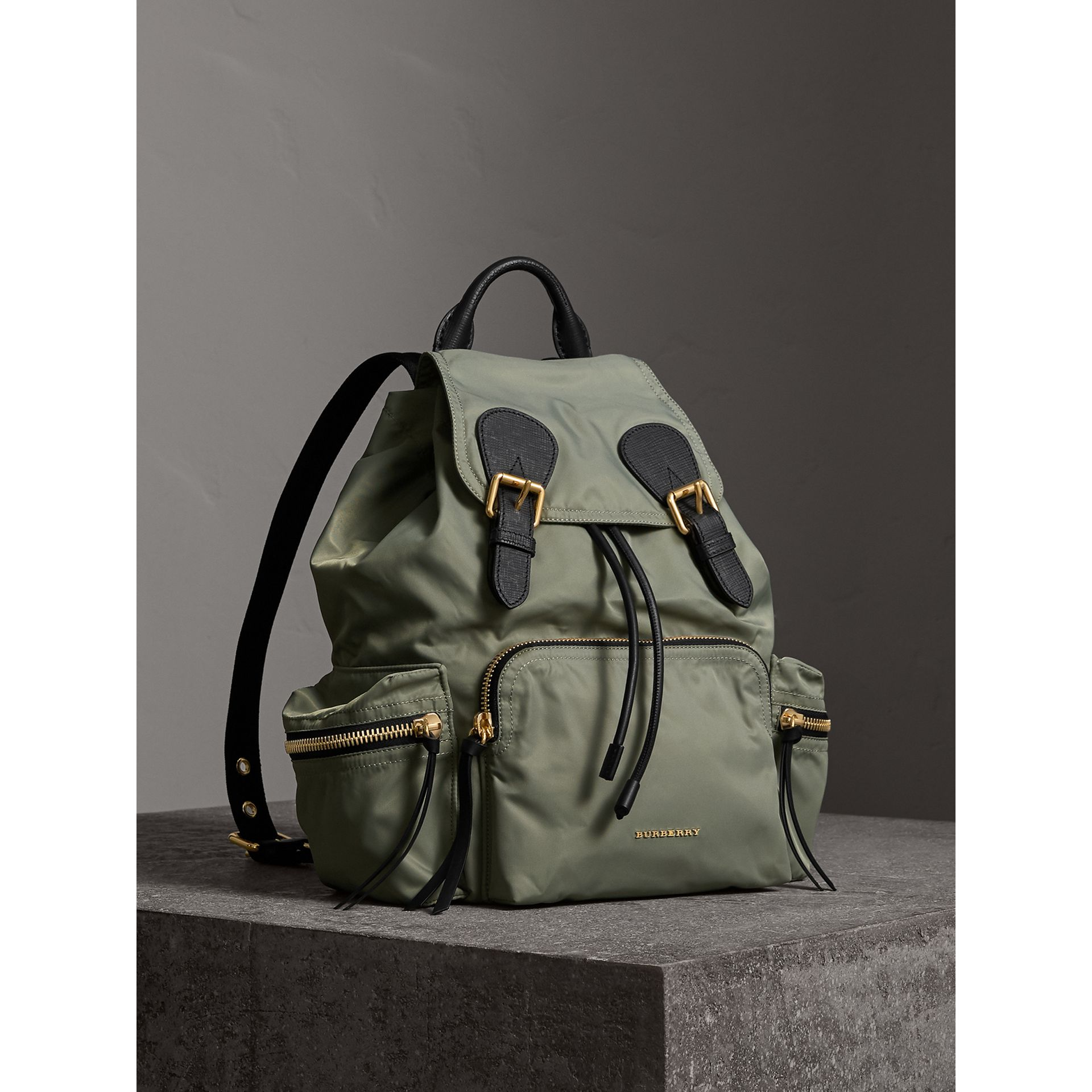 The Medium Rucksack in Technical Nylon and Leather in Thistle Grey - Women | Burberry United States - gallery image 1