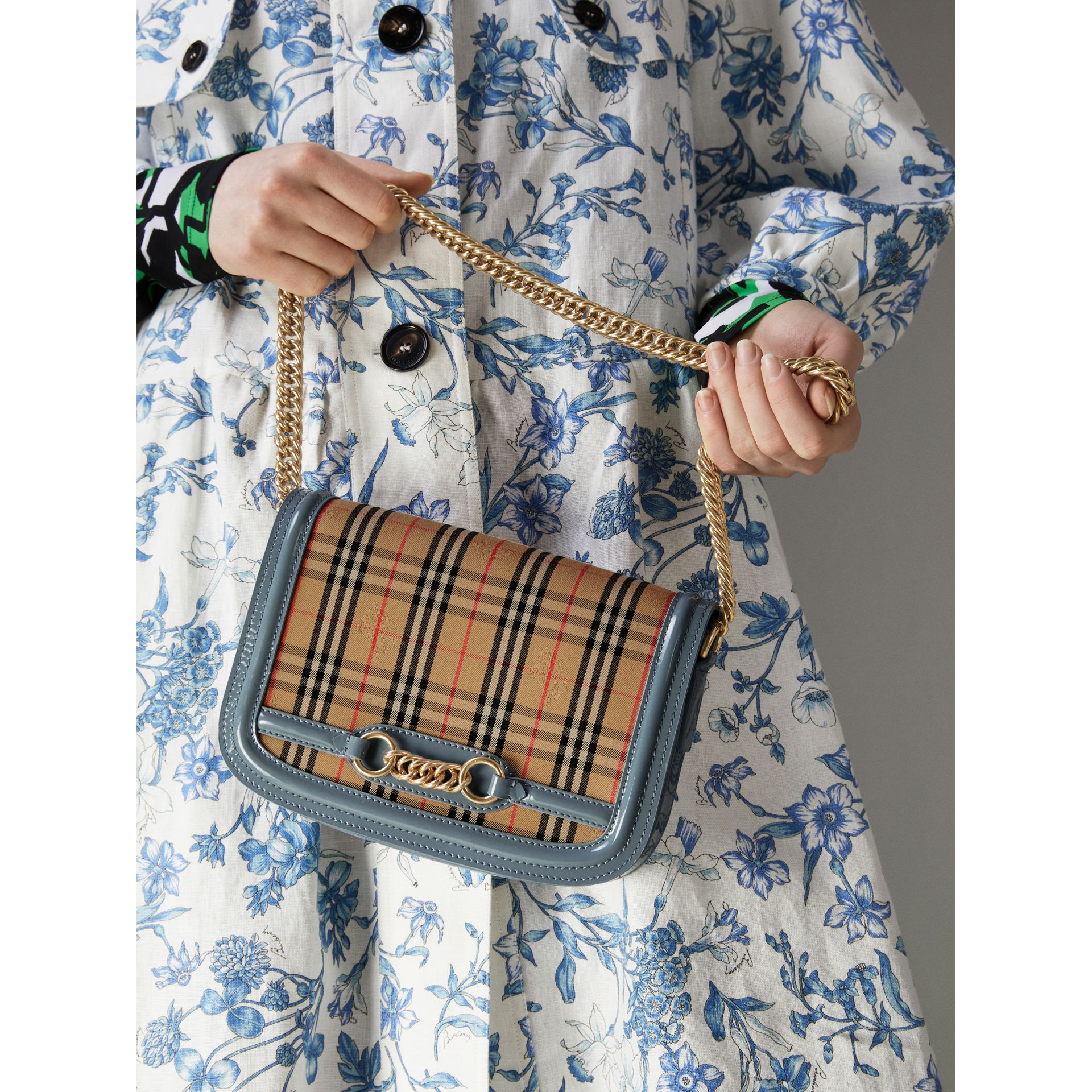 The 1983 Check Link Bag with Patent Trim in Blue Sage - Women | Burberry - gallery image 7