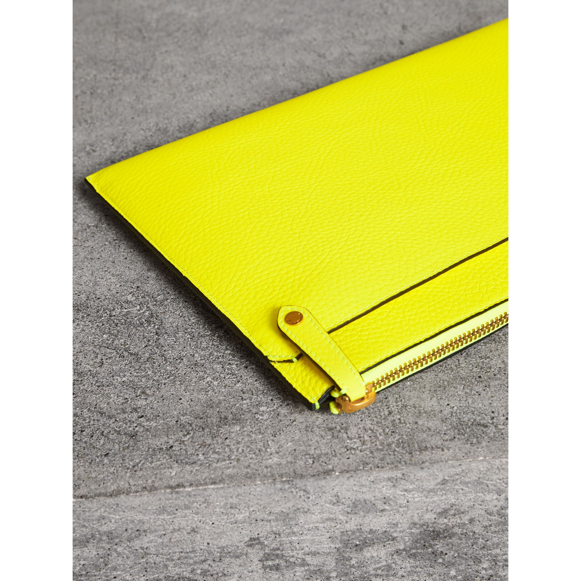Embossed Leather Document Case in Neon Yellow - Men | Burberry - gallery image 2