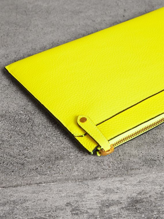 Embossed Leather Document Case in Neon Yellow - Men | Burberry - cell image 2