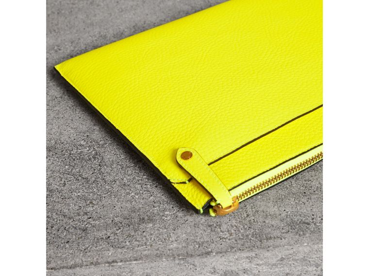 Embossed Leather Document Case in Neon Yellow - Men | Burberry - cell image 4