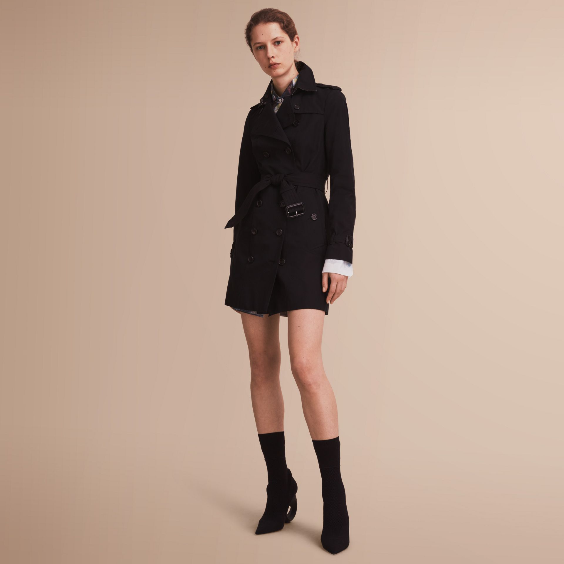 The Sandringham – Mid-Length Heritage Trench Coat in Black - gallery image 1