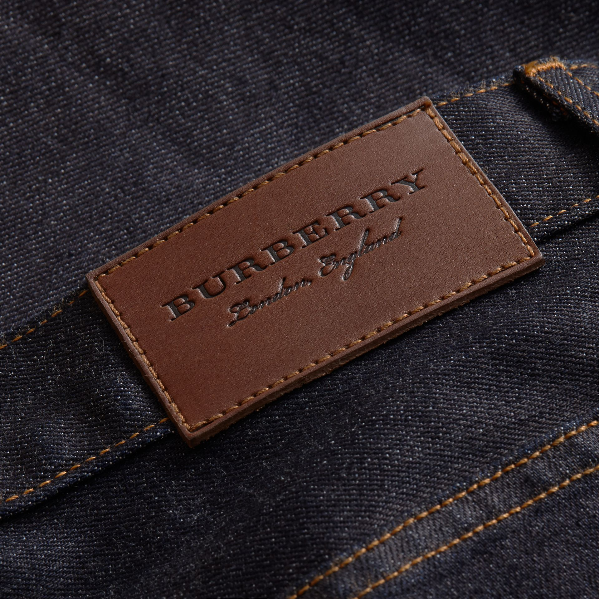 Relaxed Fit Comfort Stretch Indigo Japanese Denim Jeans in Dark - Men | Burberry - gallery image 1