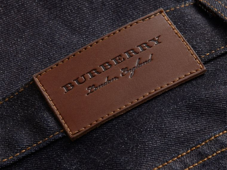Relaxed Fit Comfort Stretch Indigo Japanese Denim Jeans in Dark - Men | Burberry - cell image 1
