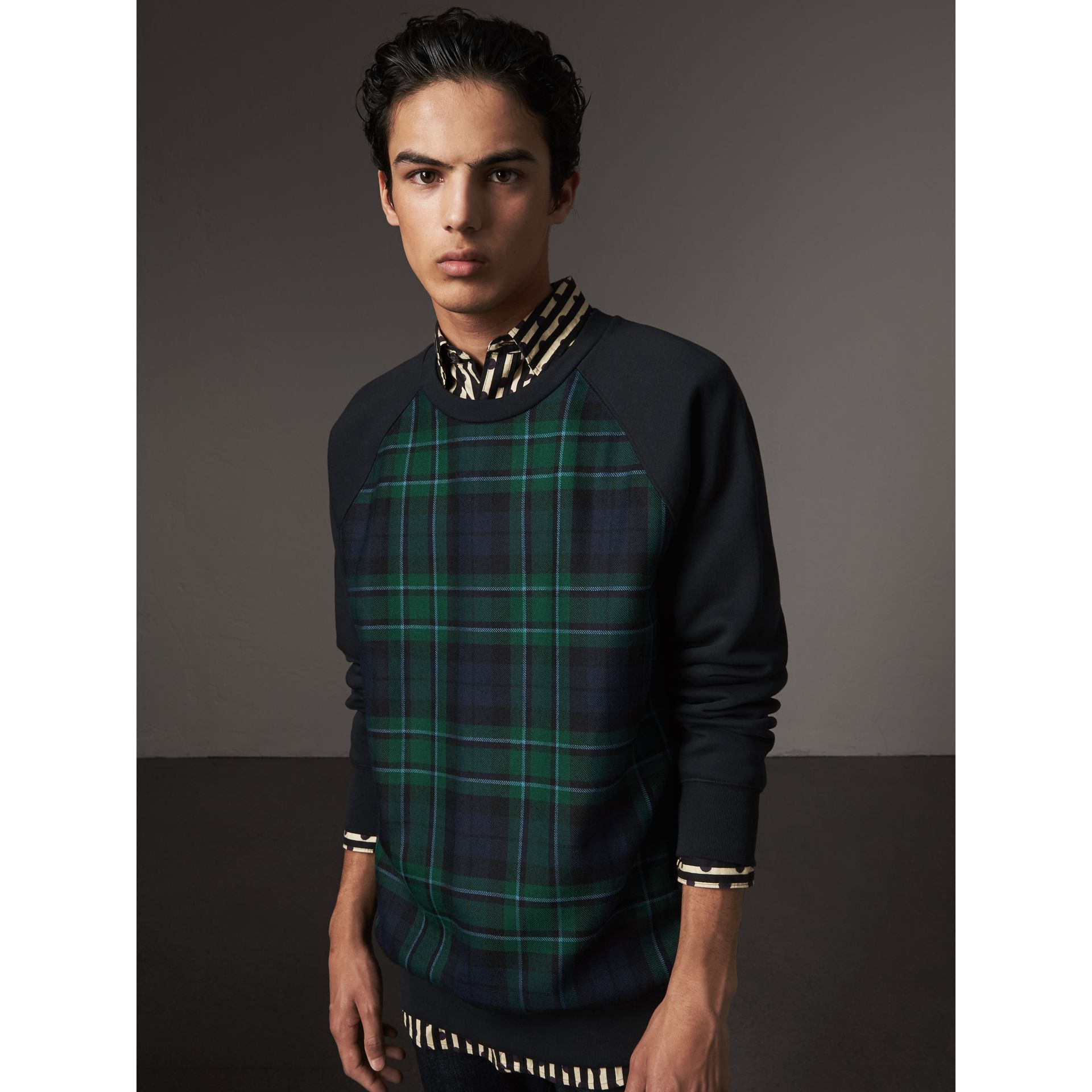 Tartan Panel Jersey Sweatshirt in Navy - Men | Burberry - gallery image 0