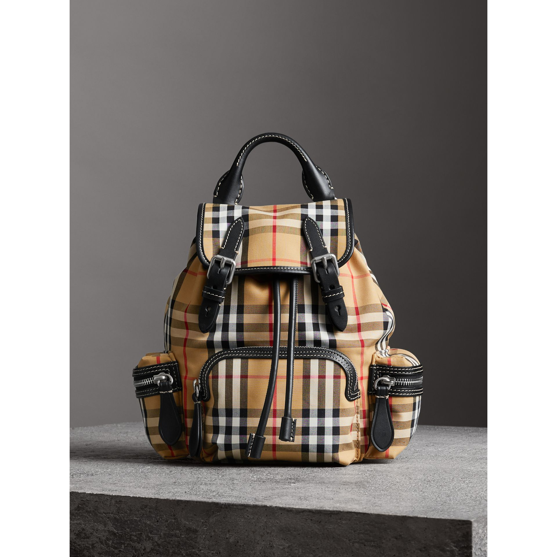 The Small Rucksack in Vintage Check and Leather in Antique Yellow - Women | Burberry Hong Kong - gallery image 7