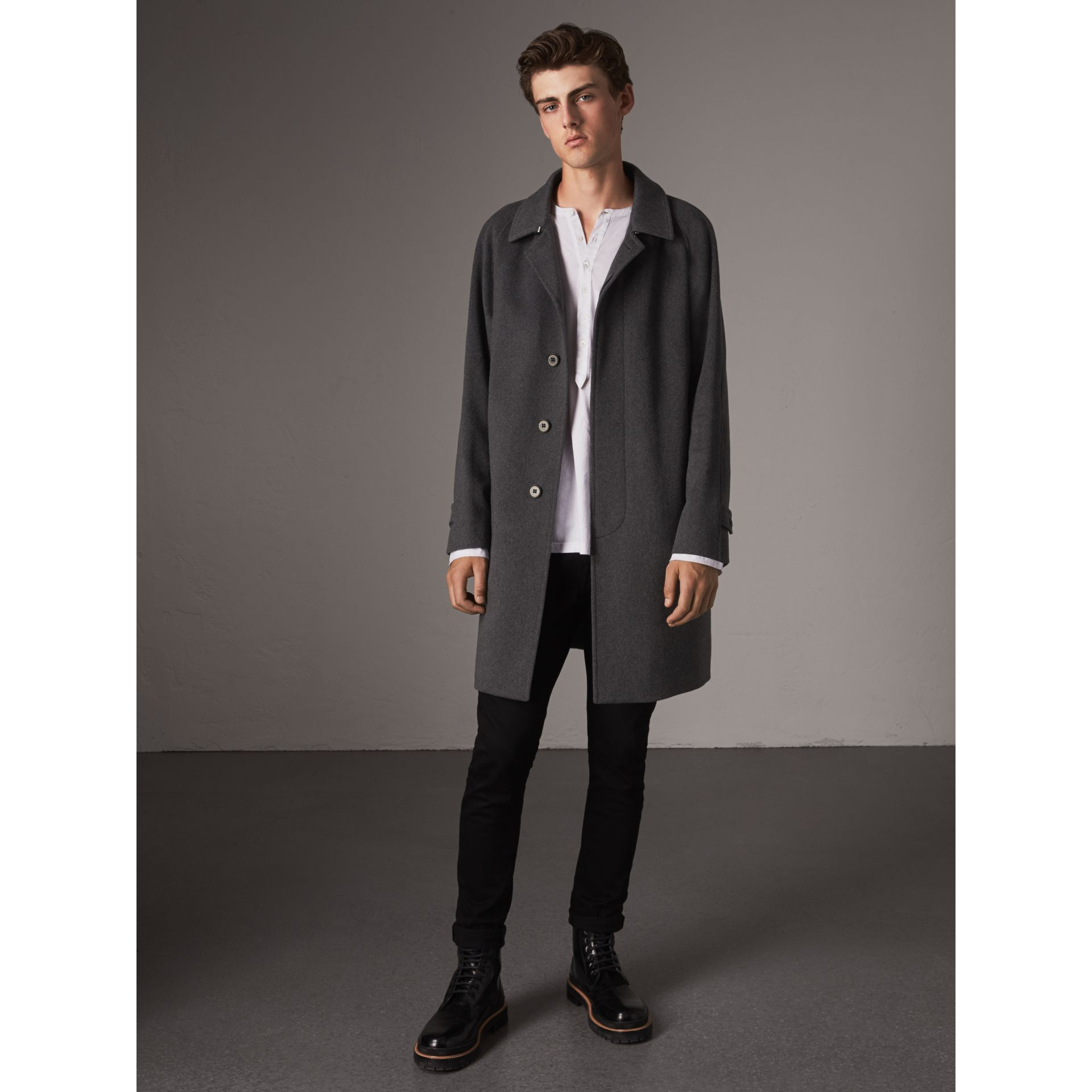 Cashmere Car Coat in Pewter Melange - Men | Burberry Australia - gallery image 1