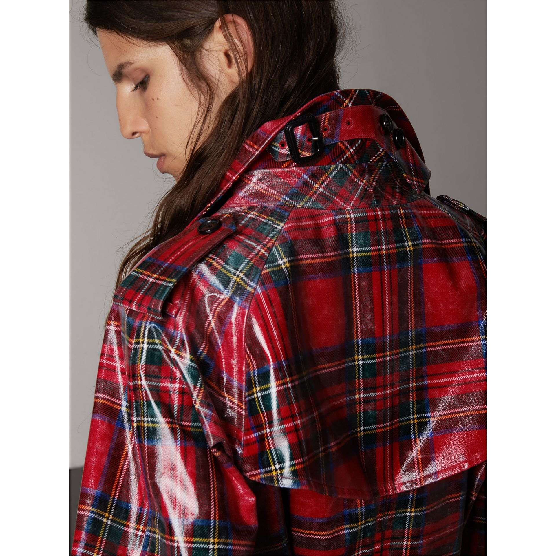 Laminated Tartan Wool Trench Coat in Bright Red - Women | Burberry - gallery image 4