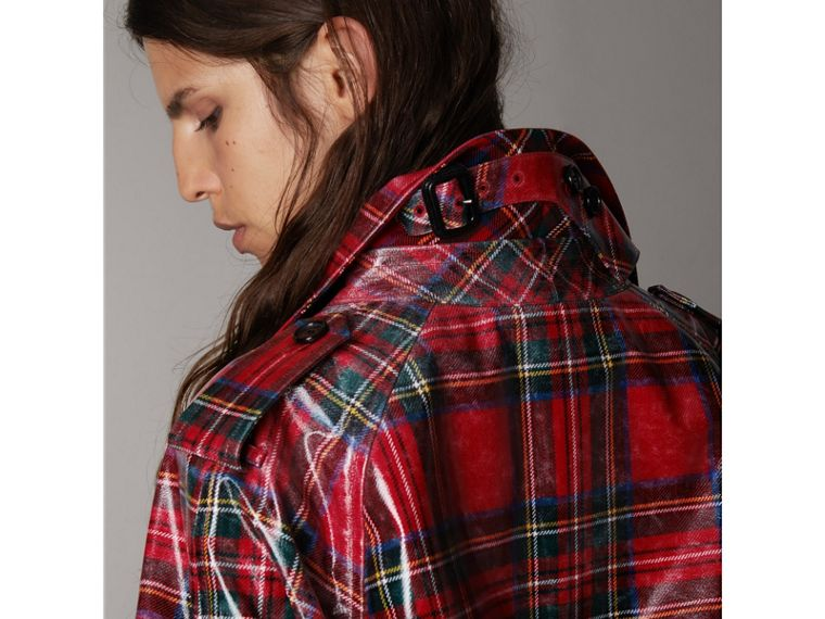Laminated Tartan Wool Trench Coat in Bright Red - Women | Burberry United Kingdom - cell image 4