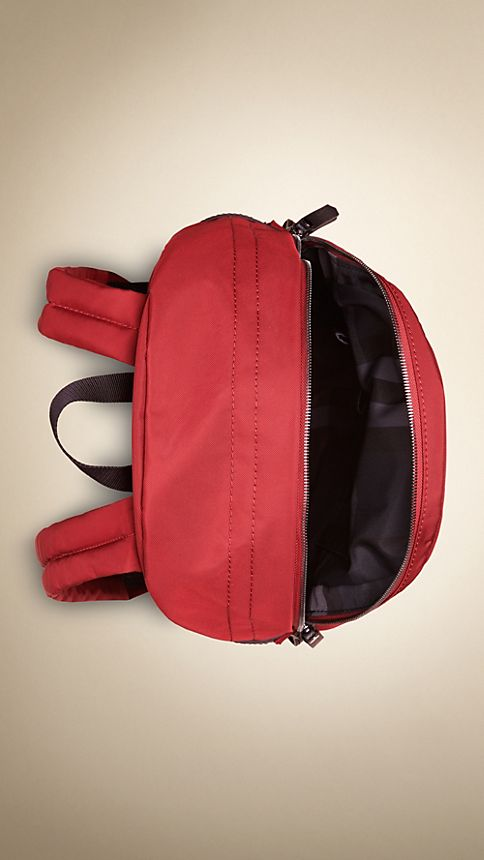 Parade red Leather Detail Nylon Backpack - Image 4