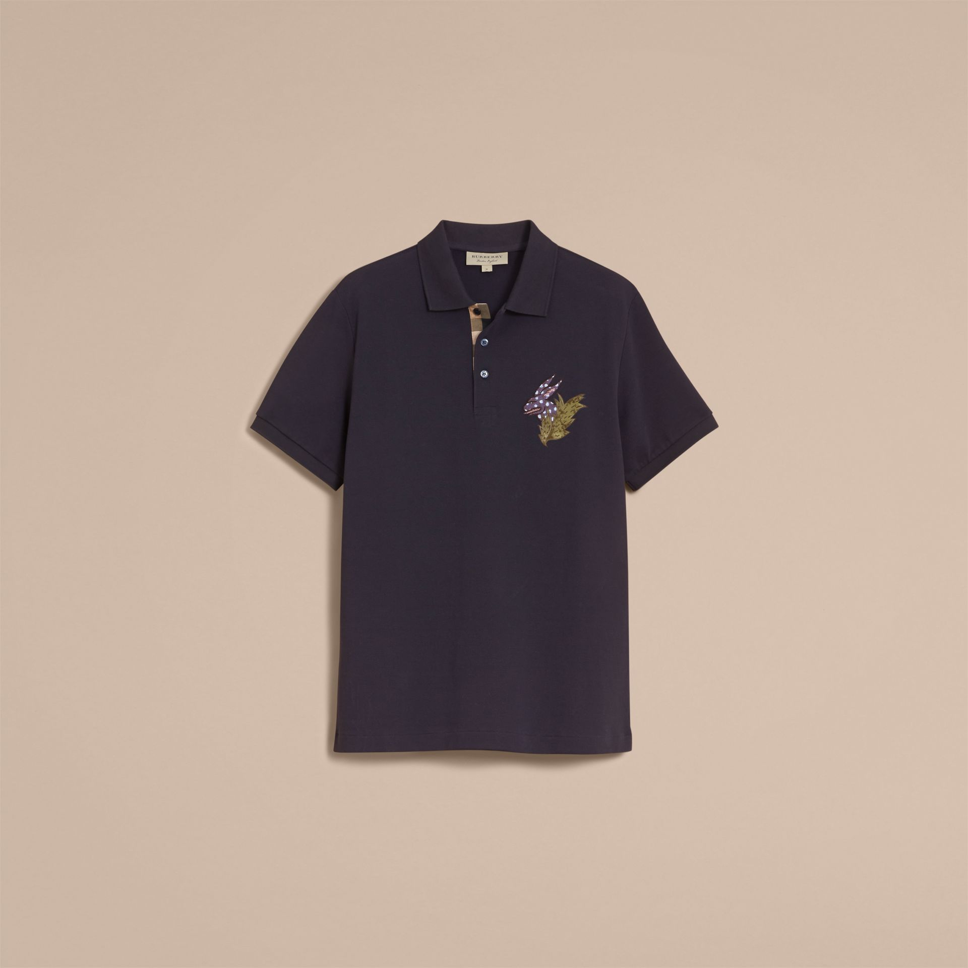 Beasts Motif Cotton Piqué Polo Shirt in Dark Navy - Men | Burberry Canada - gallery image 4