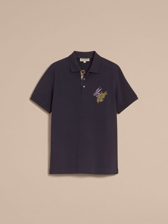 Beasts Motif Cotton Piqué Polo Shirt in Dark Navy - Men | Burberry Canada - cell image 3