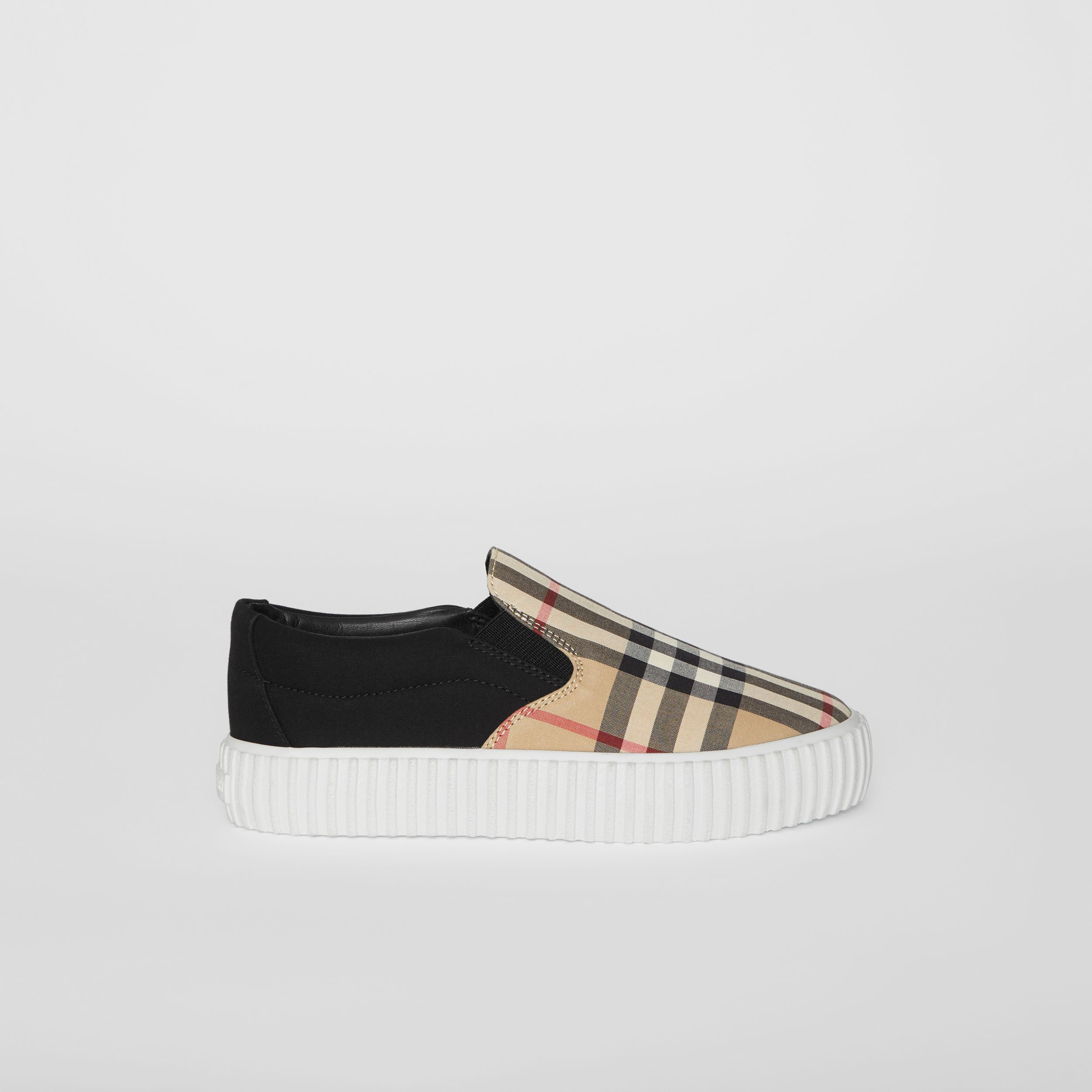 Vintage Check Detail Cotton Slip-on Sneakers in Archive Beige/black - Children | Burberry - 4