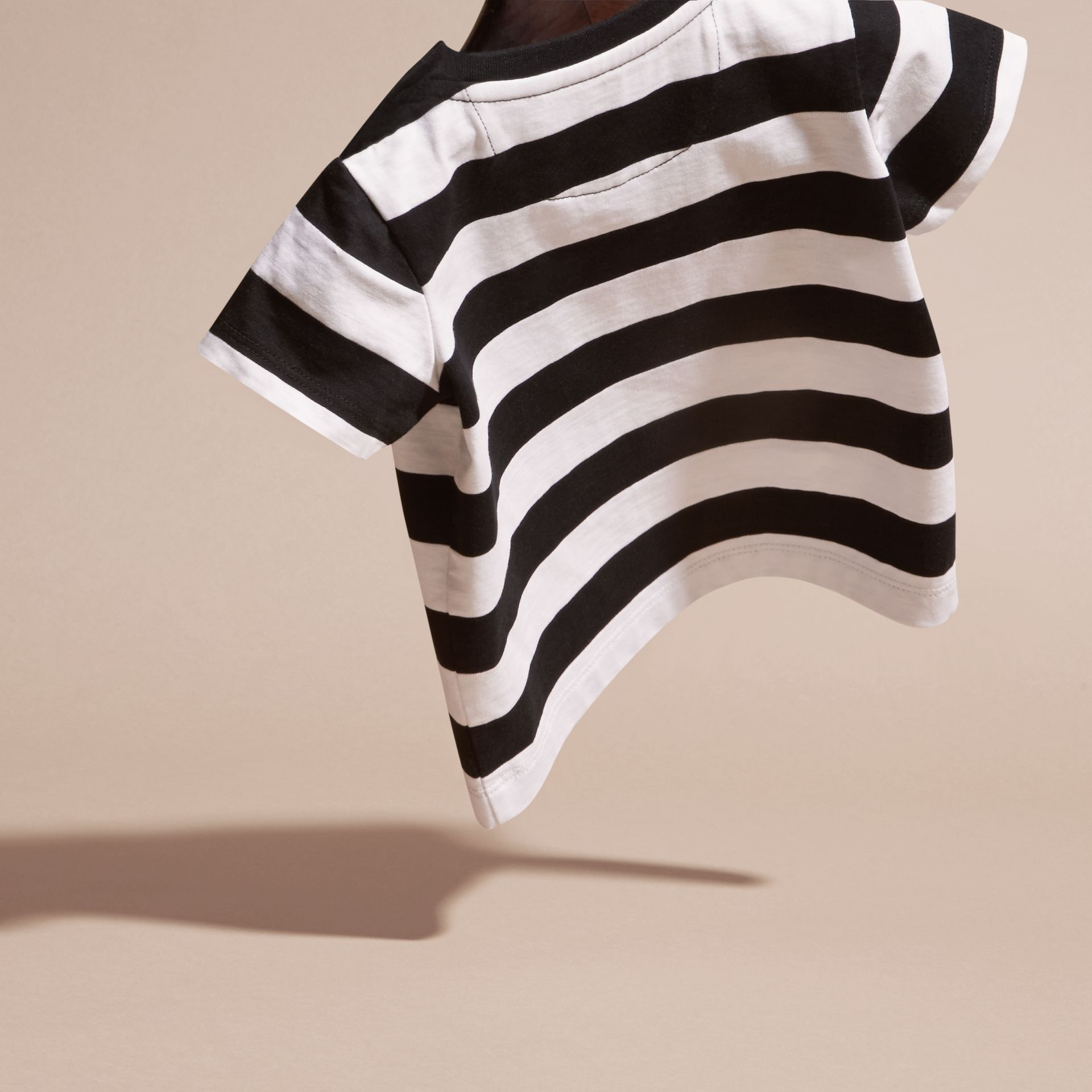 Black Striped Cotton T-shirt Black - gallery image 4