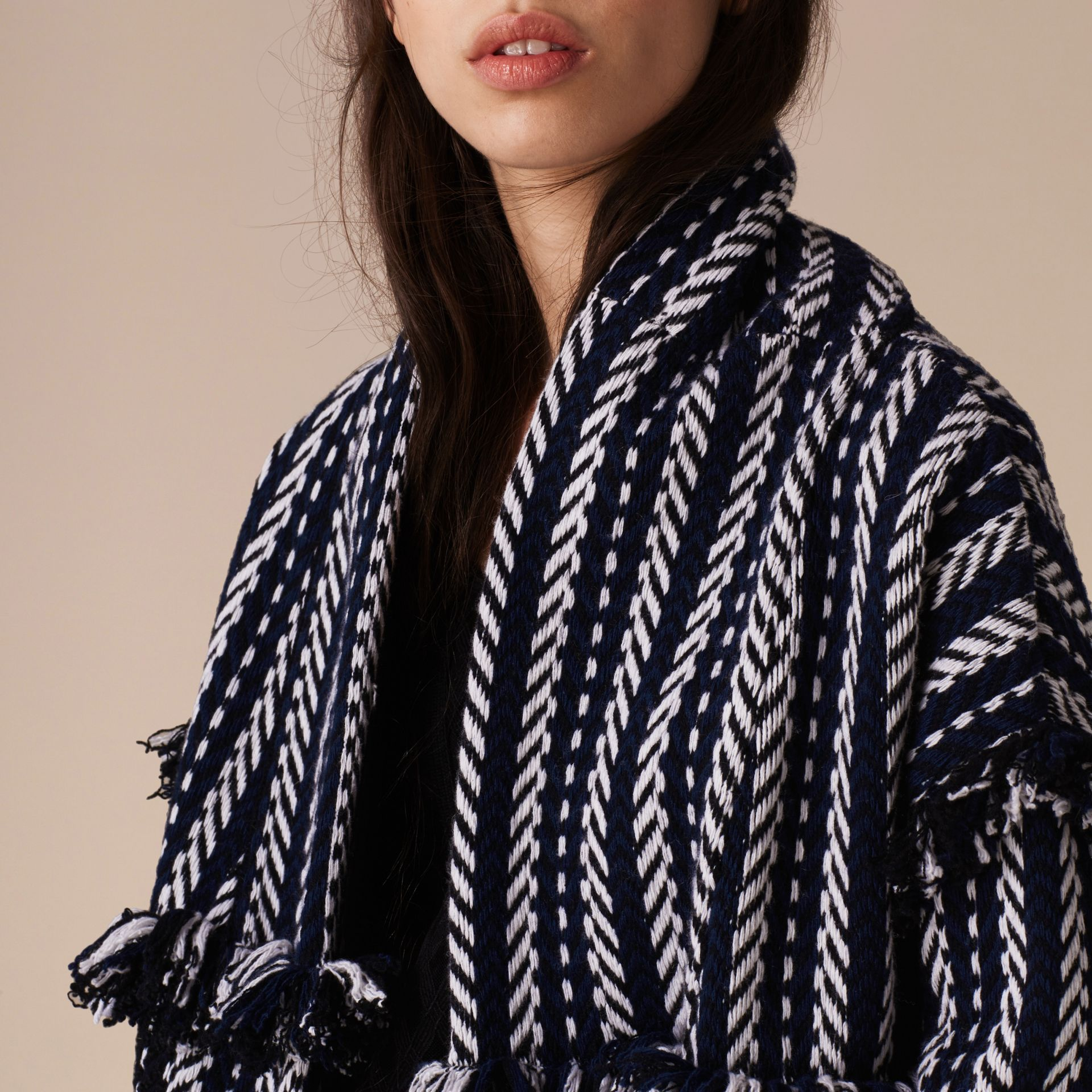 Navy Fringed Wool Cashmere Jacket Navy - gallery image 5