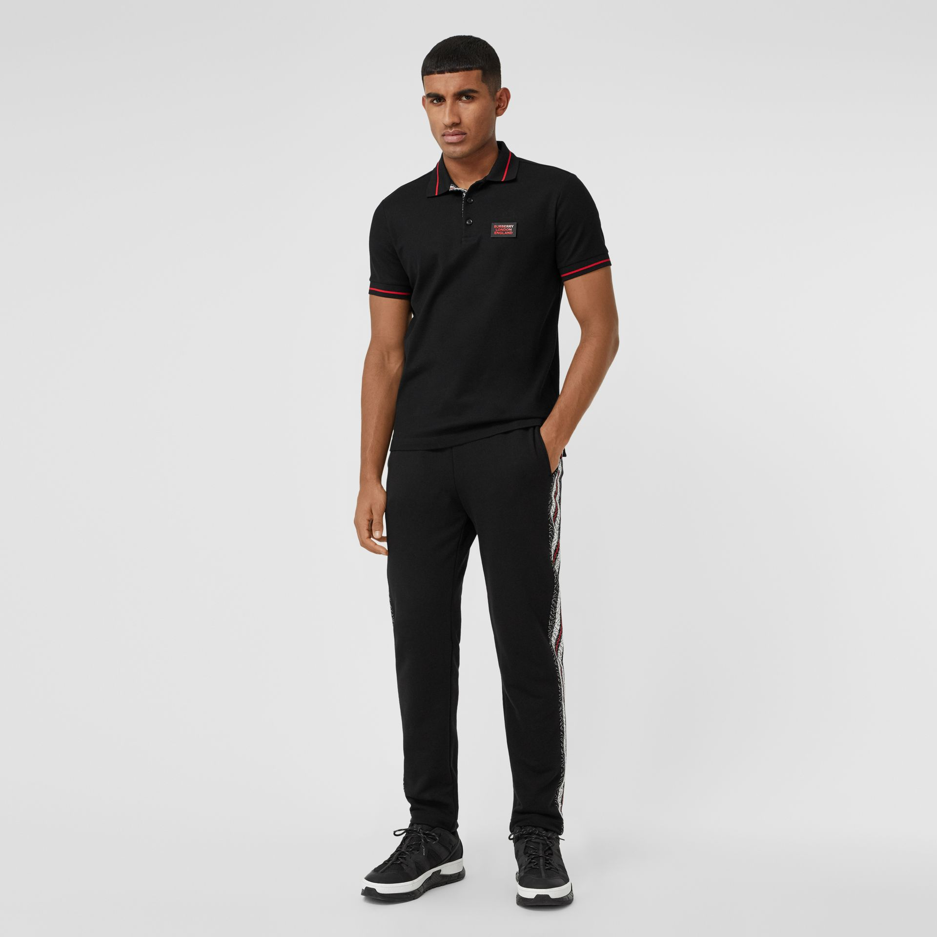 Logo Appliqué Cotton Piqué Polo Shirt in Black - Men | Burberry - gallery image 4