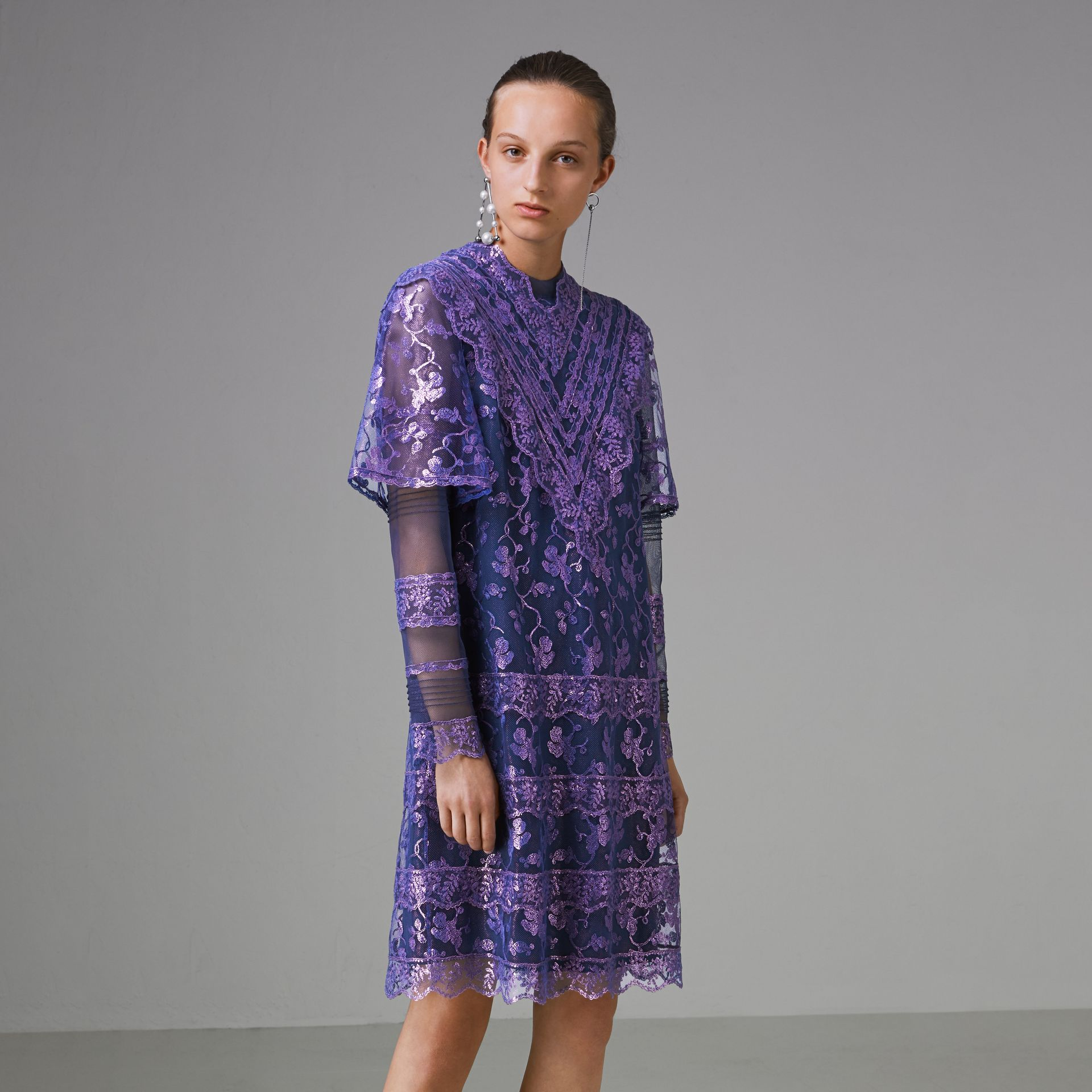 Laminated Lace Cape Sleeve Dress in Bright Purple - Women | Burberry Canada - gallery image 5