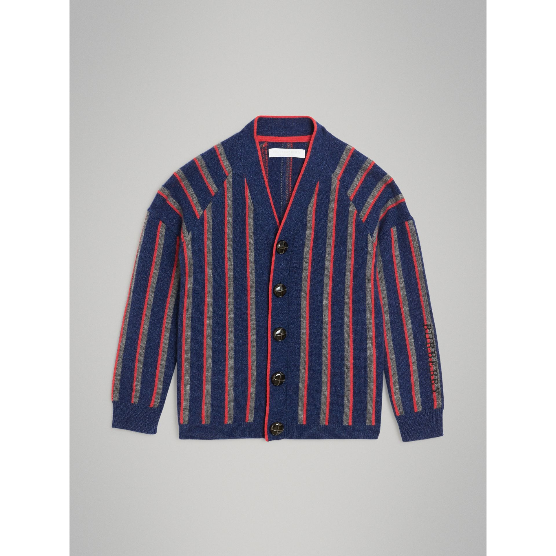 Striped Cashmere Wool Cardigan in Dark Canvas Blue | Burberry - gallery image 0