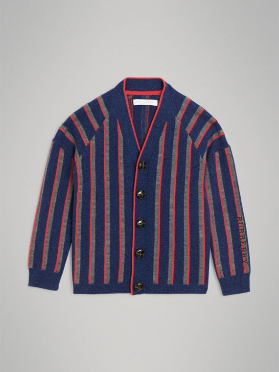Striped Cashmere Wool Cardigan in Dark Canvas Blue