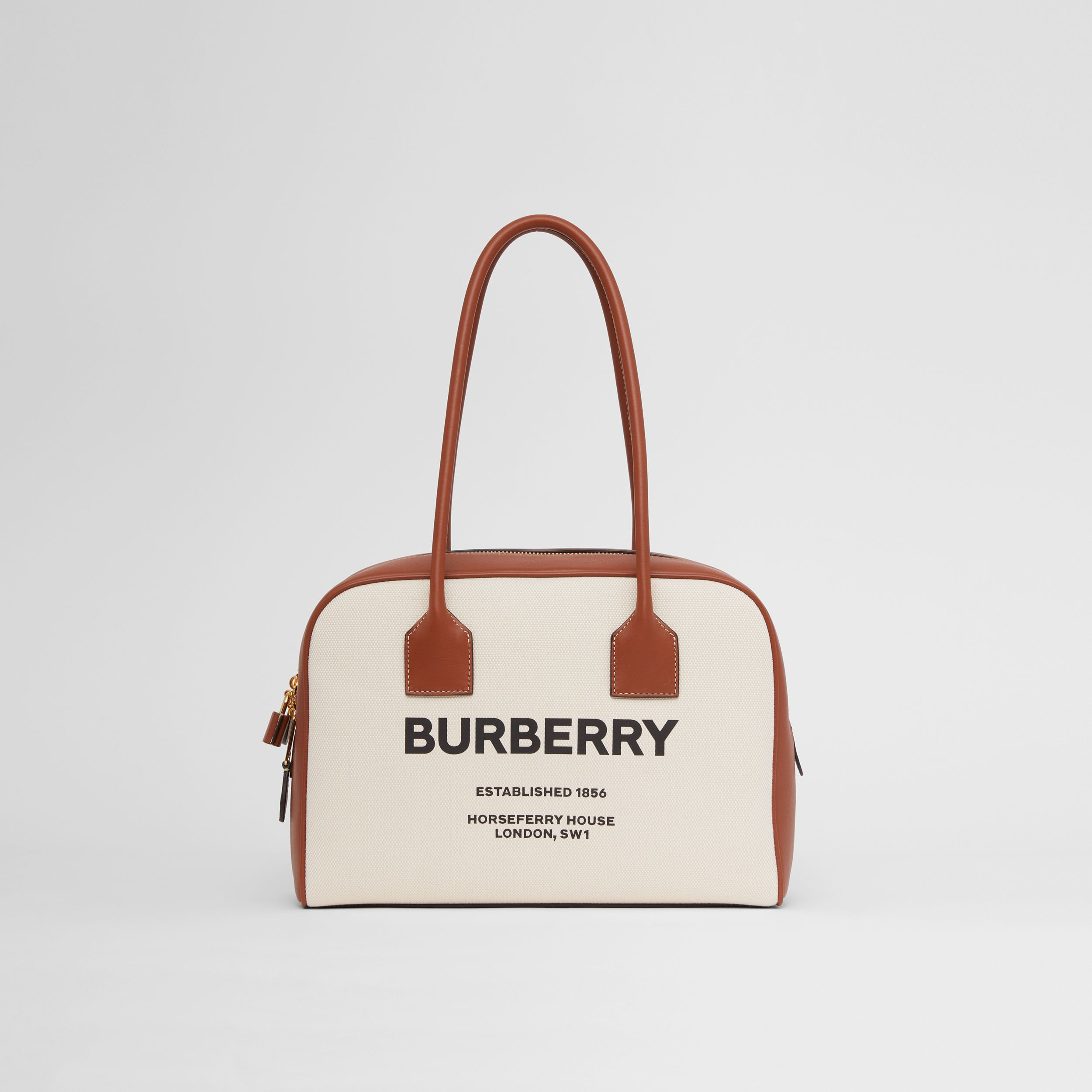 Medium Horseferry Print Cotton Canvas Half Cube Bag in Natural/tan/black - Women | Burberry - 1