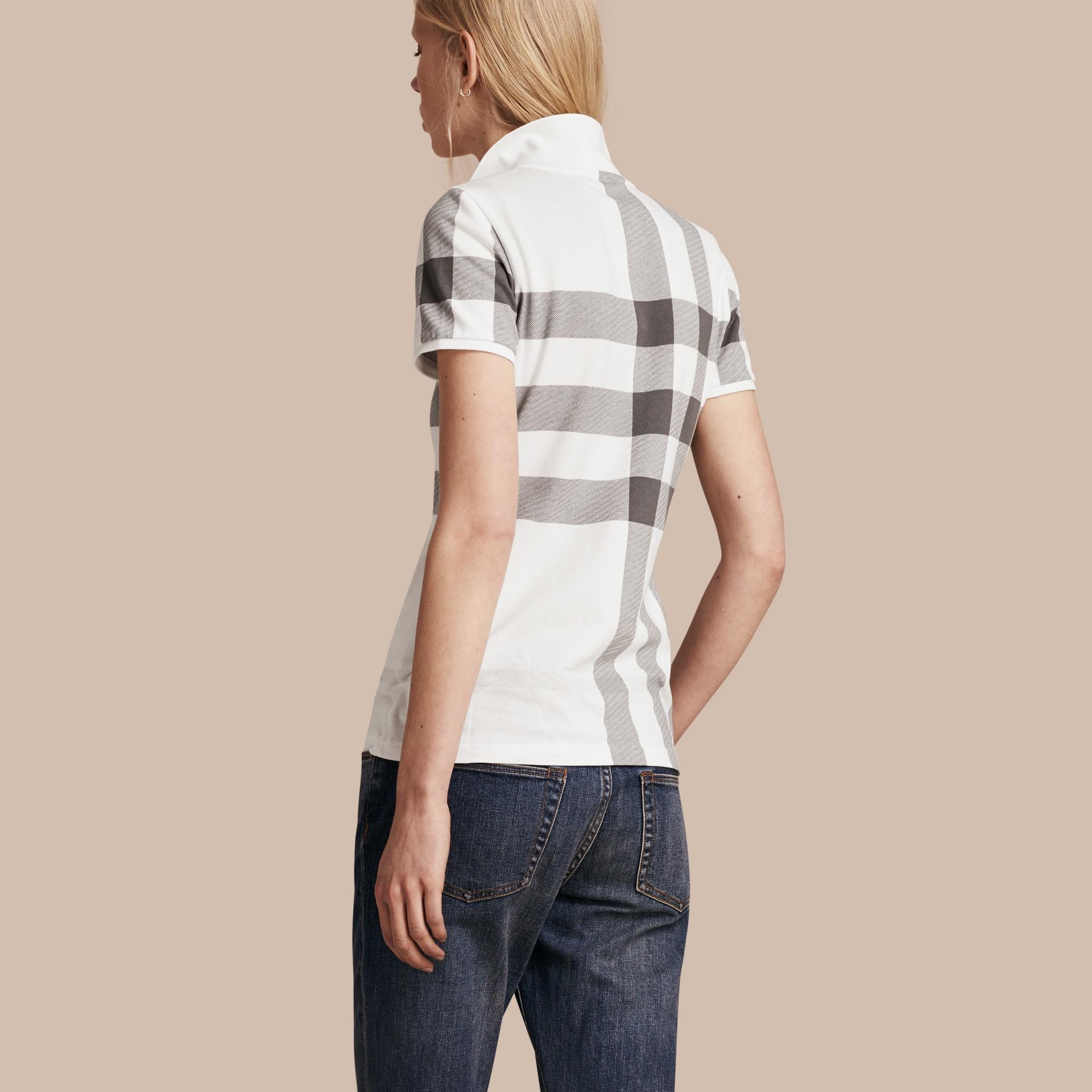White Check Stretch Cotton Piqué Polo Shirt White - gallery image 3