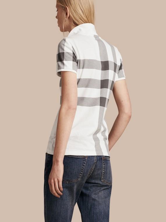 Blanc Polo en piqué de coton extensible à motif check Blanc - cell image 2
