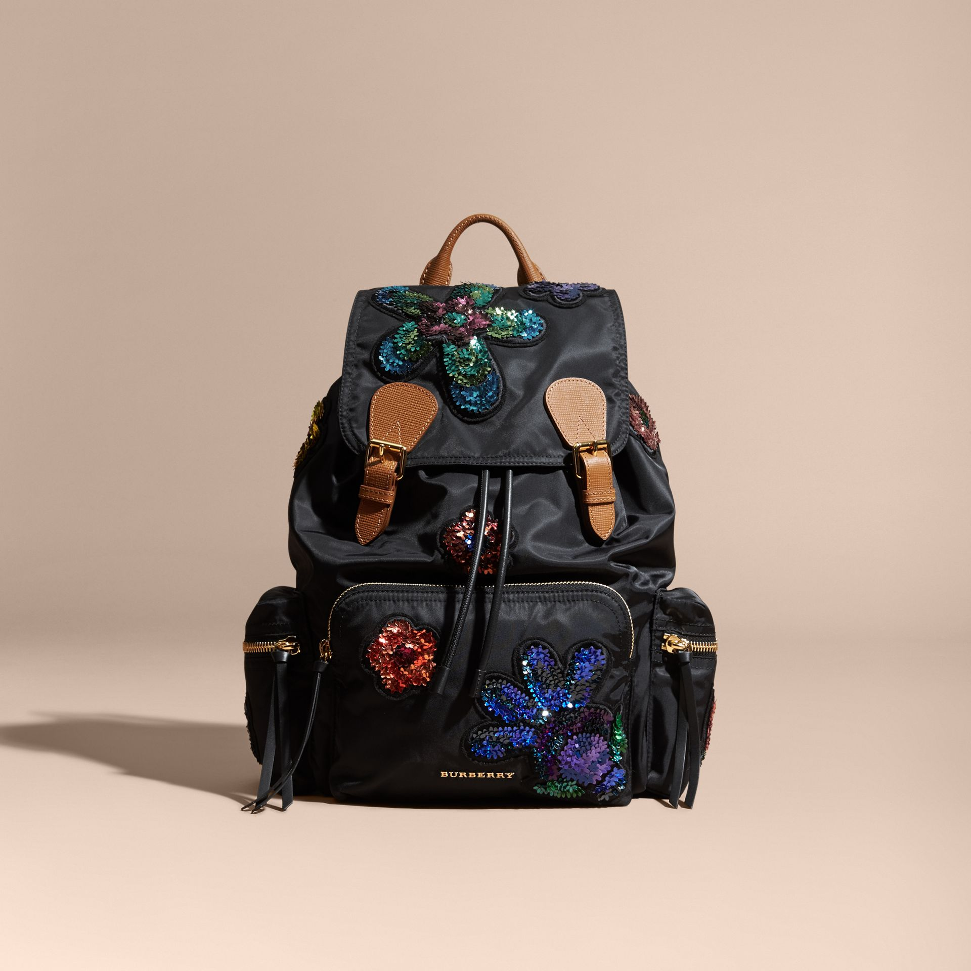 Black The Large Rucksack in Technical Nylon with Sequinned Flowers - gallery image 8
