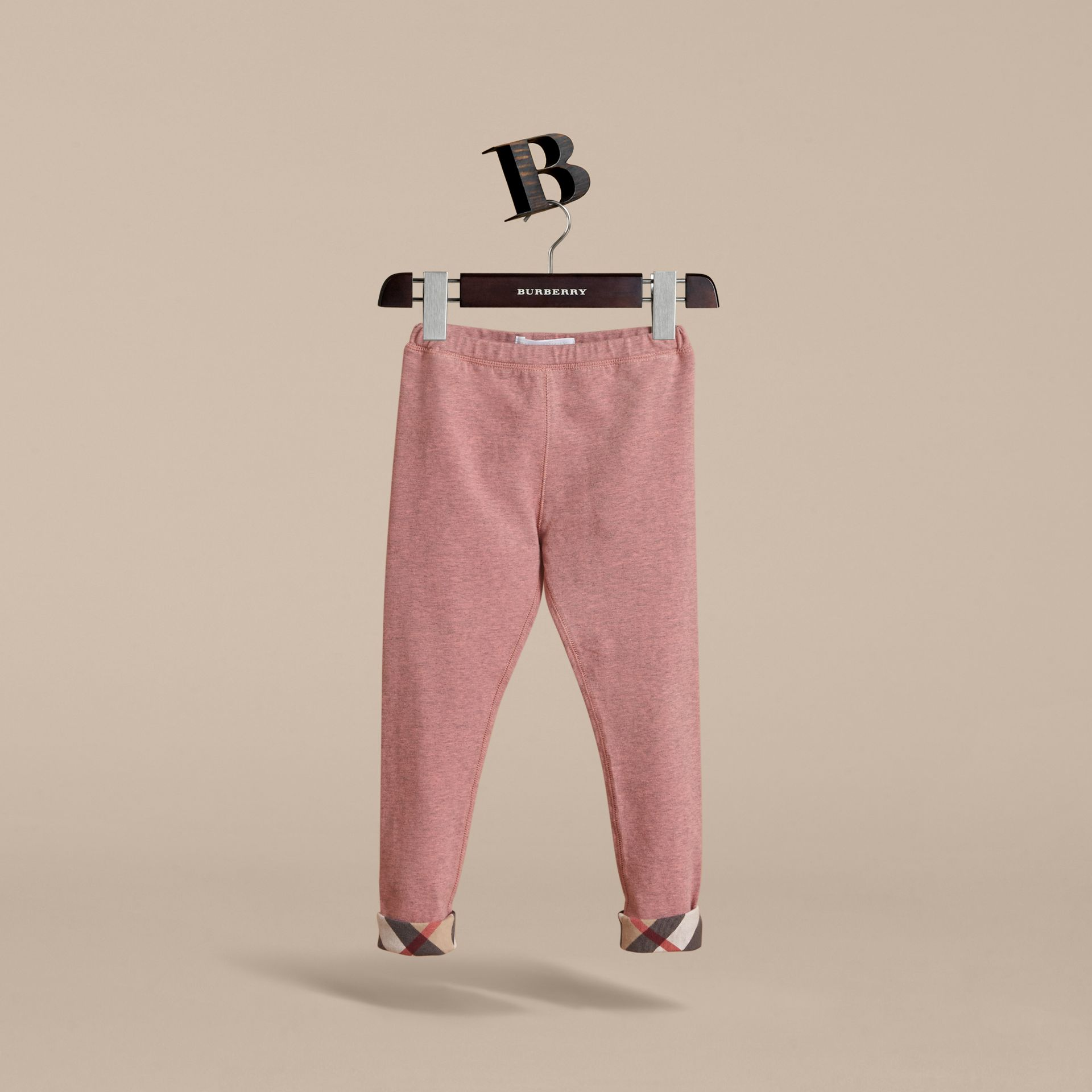 Check Cuff Stretch Cotton Jersey Leggings in Pale Pink Melange - Girl | Burberry Canada - gallery image 3