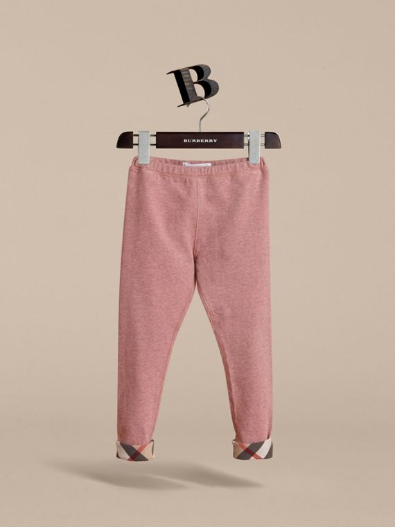 Check Cuff Stretch Cotton Jersey Leggings in Pale Pink Melange - Girl | Burberry - cell image 2