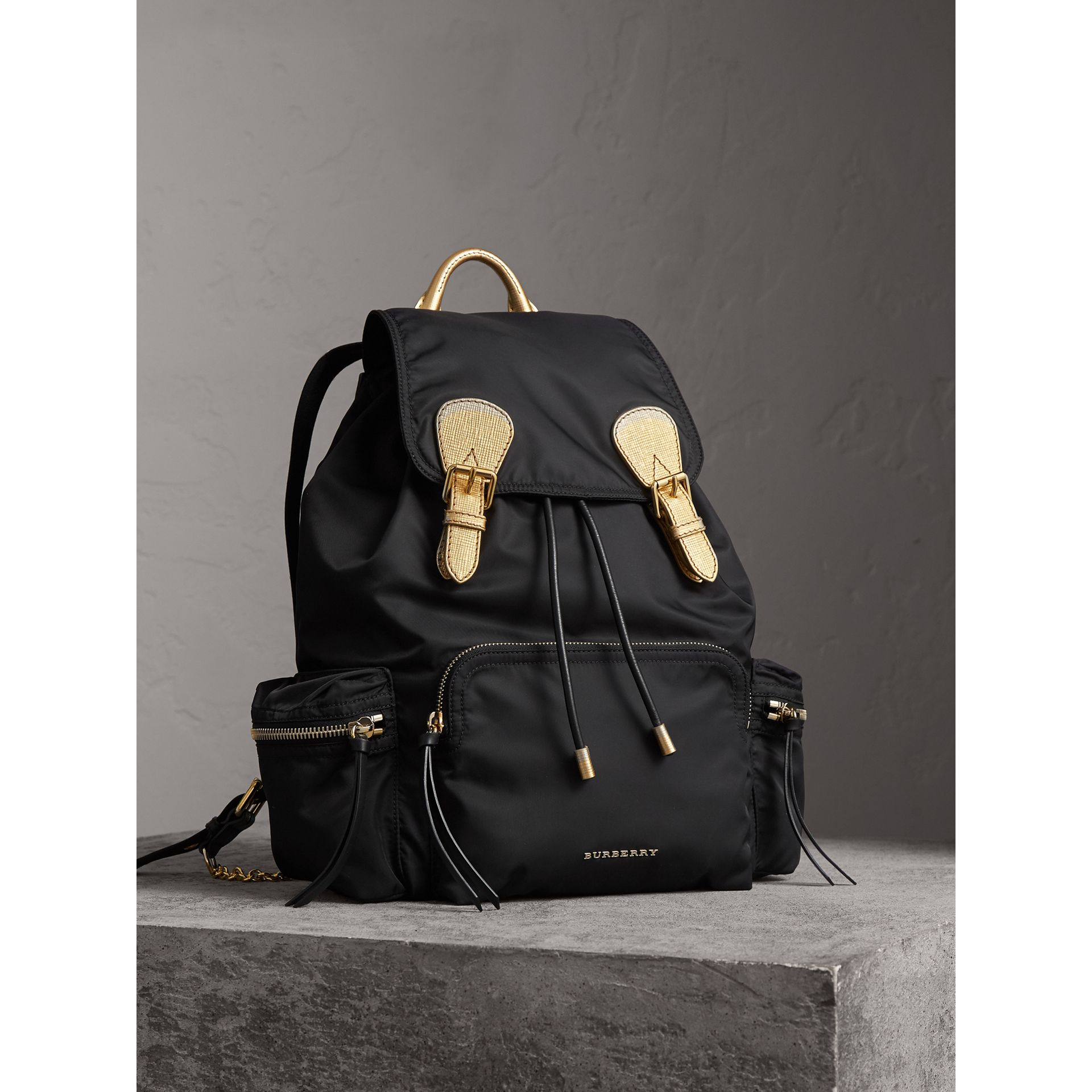 The Large Rucksack in Technical Nylon and Leather in Black/gold - Women | Burberry - gallery image 8