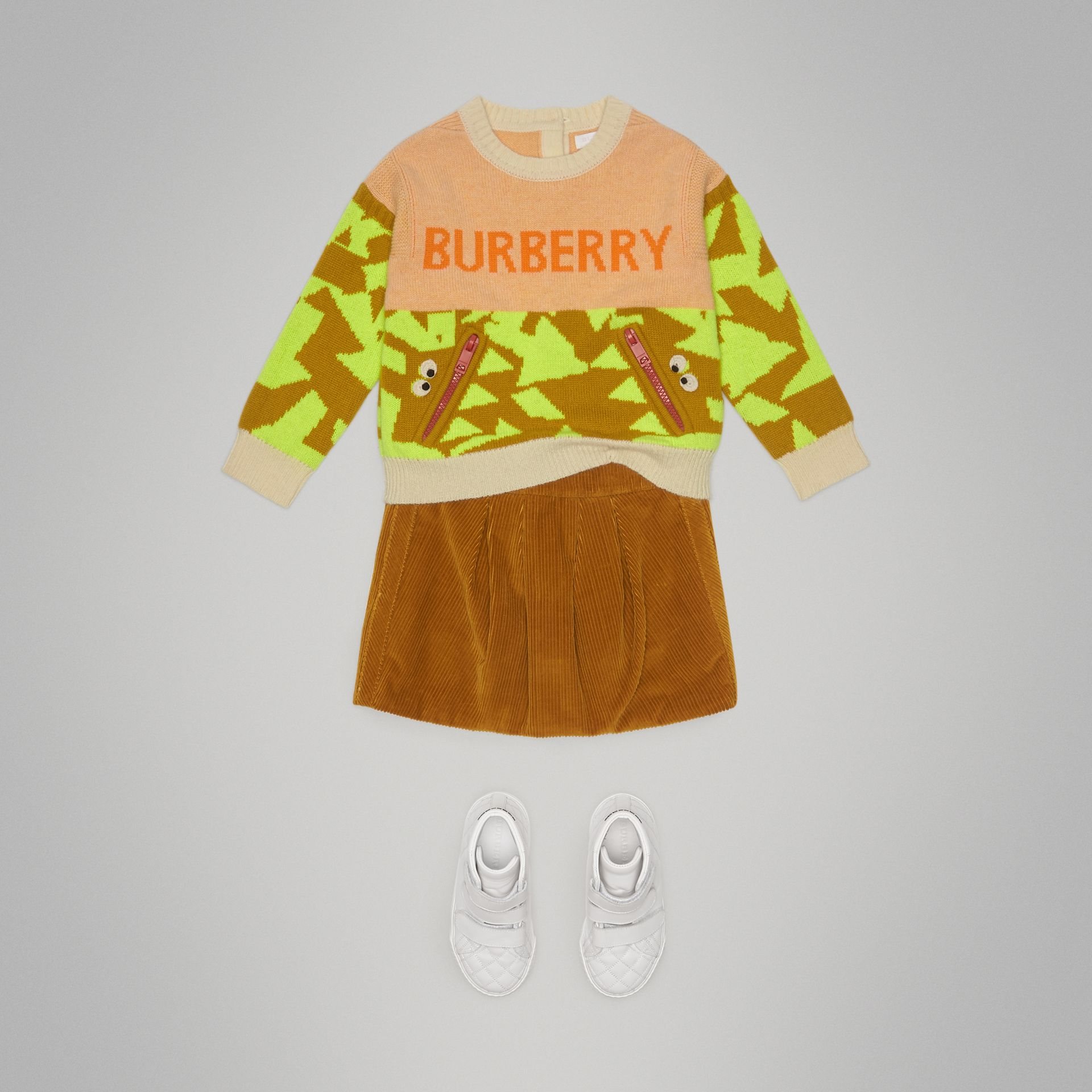 Kaschmirpullover mit Monstermotiv in Intarsienoptik (Orange) | Burberry - Galerie-Bild 2