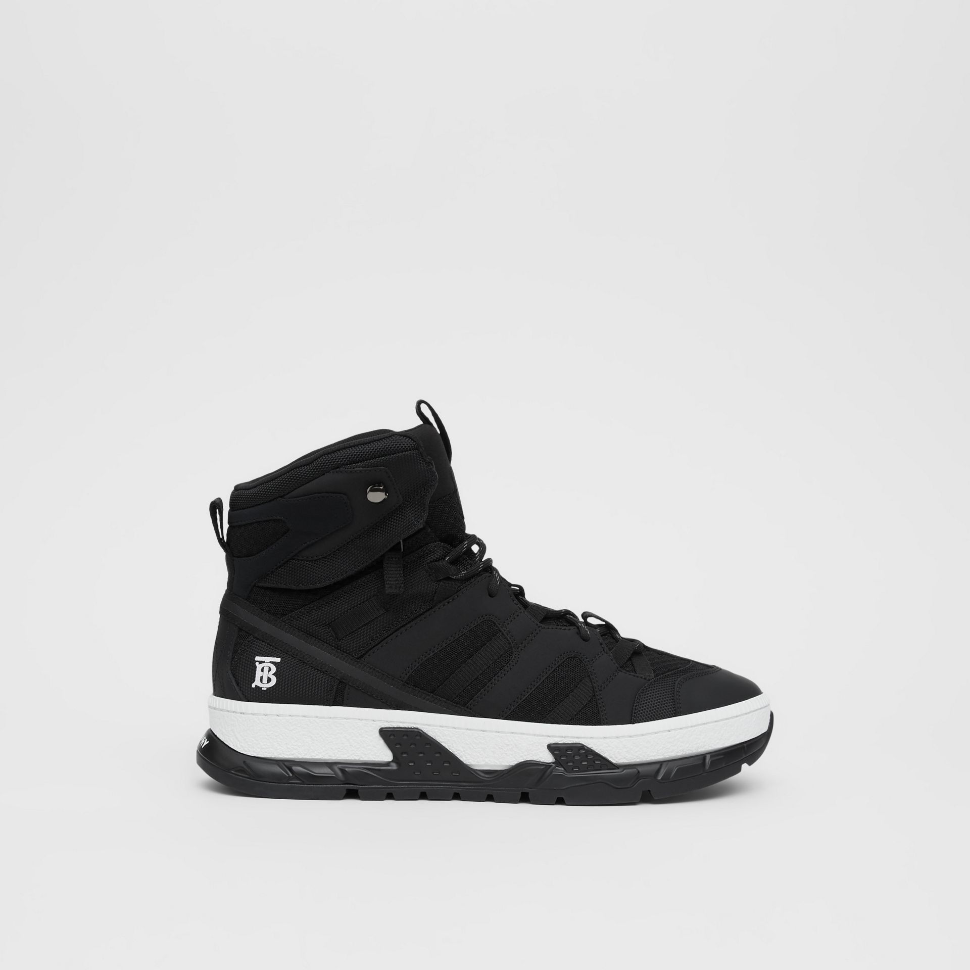 Mesh and Nubuck Union High-top Sneakers in Black - Men | Burberry Australia - gallery image 5