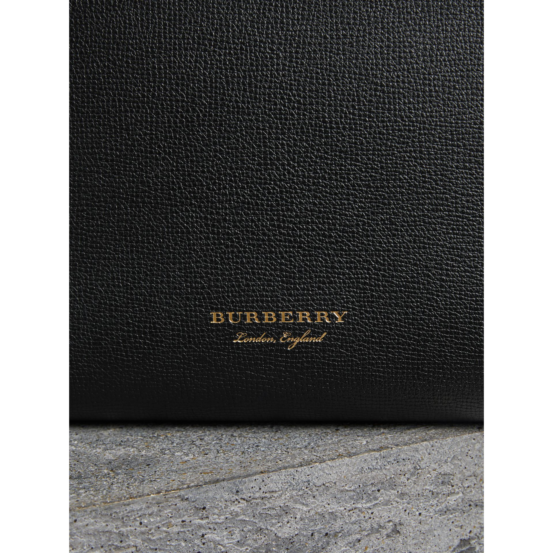 Medium Grainy Leather and House Check Tote Bag in Black - Women | Burberry - gallery image 1