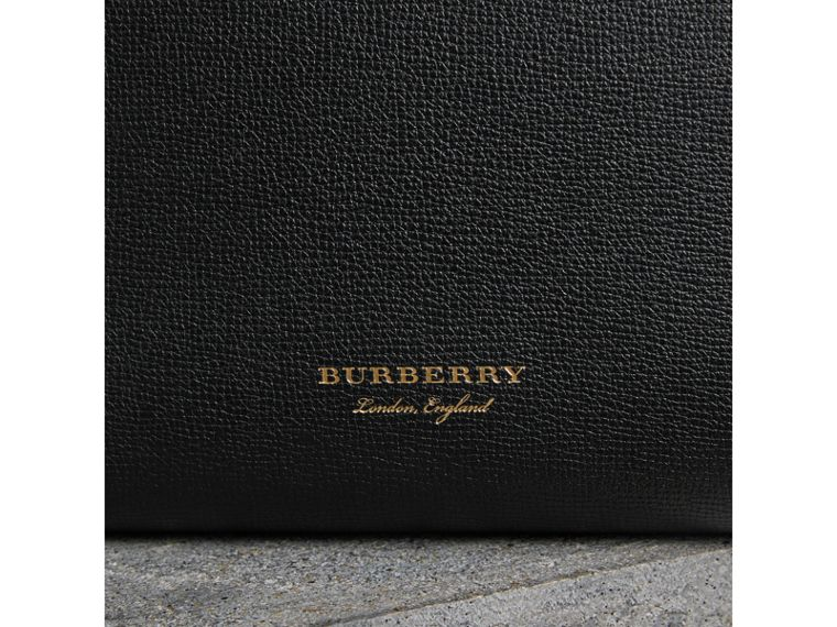 Medium Grainy Leather and House Check Tote Bag in Black - Women | Burberry - cell image 1