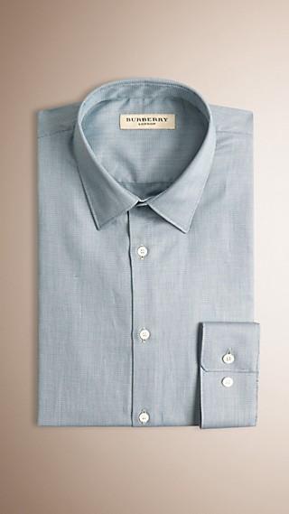 Modern Fit Micro Print Cotton Shirt