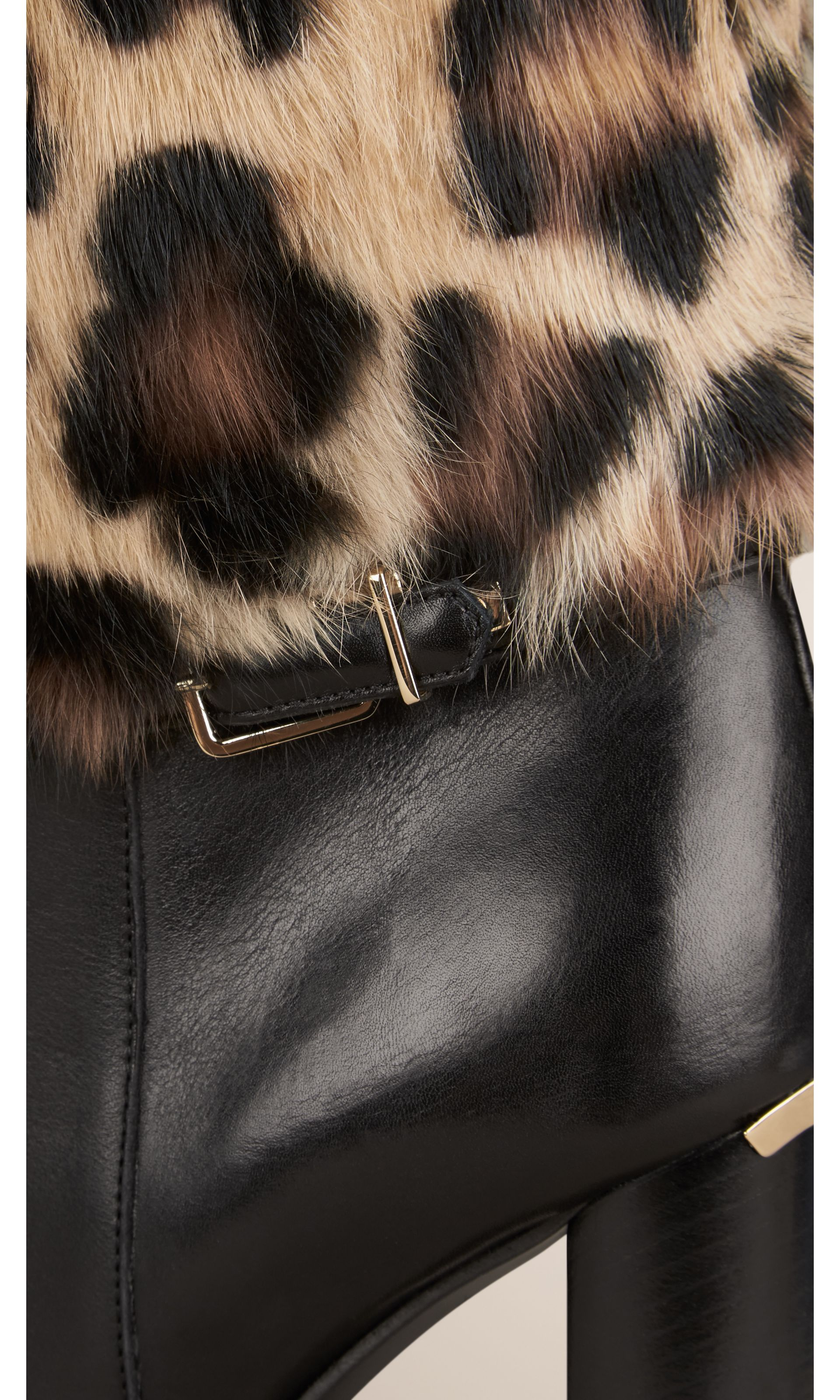 Animal Print Rabbit Fur and Leather Boots in Black - Women | Burberry United States - gallery image 4