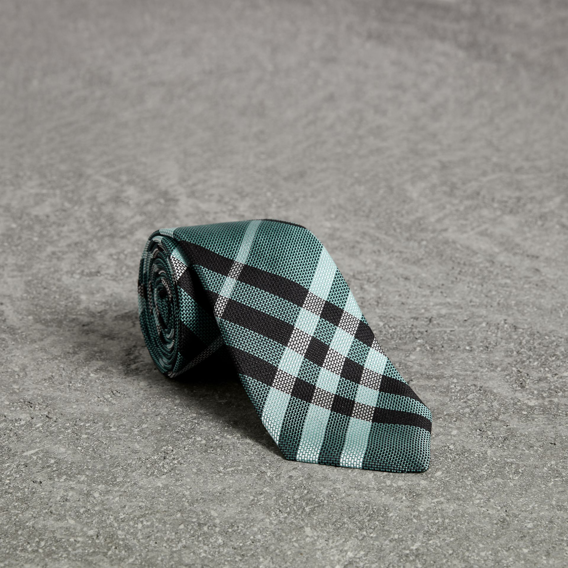 Modern Cut Check Silk Tie in Pale Turquoise - Men | Burberry United Kingdom - gallery image 0