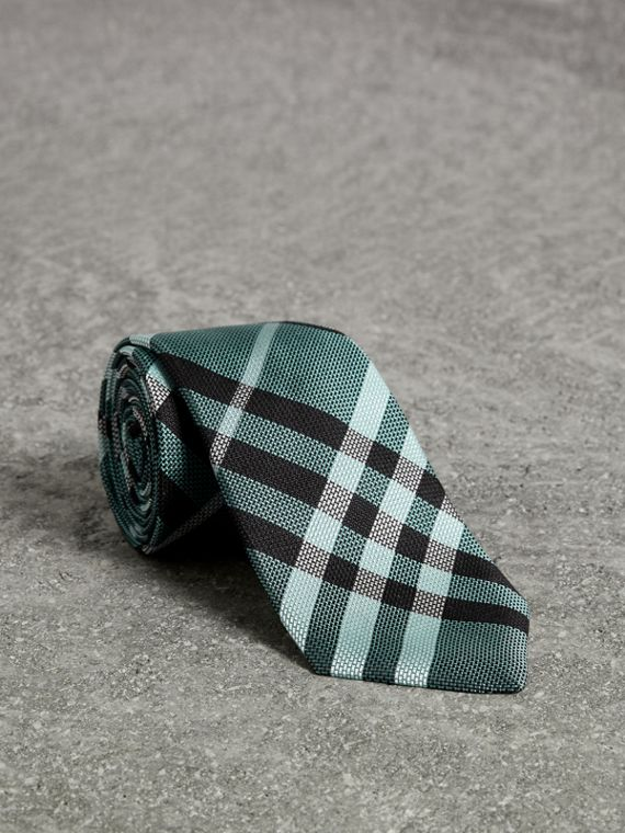 Modern Cut Check Silk Tie in Pale Turquoise