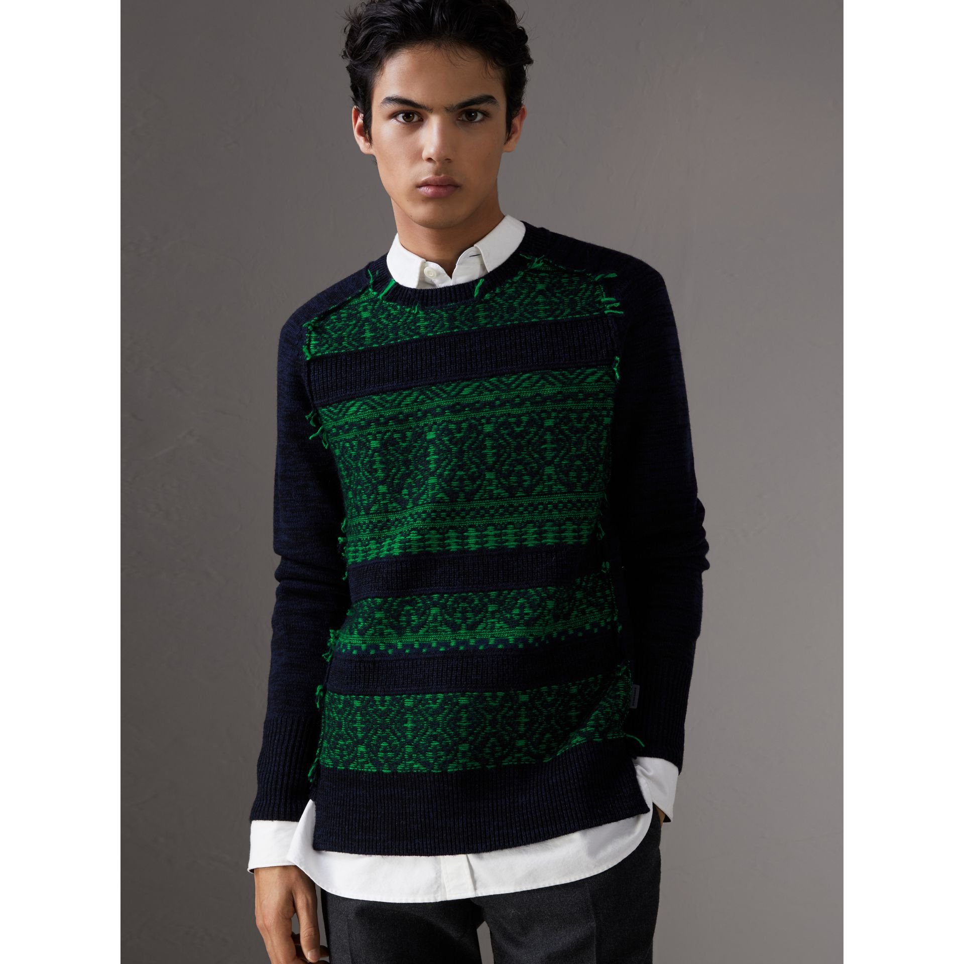 Fair Isle Detail Wool Cashmere Sweater in Bright Green - Men | Burberry - gallery image 0