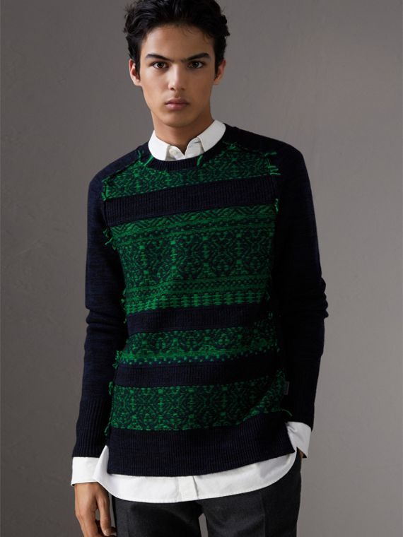 Fair Isle Detail Wool Cashmere Sweater in Bright Green