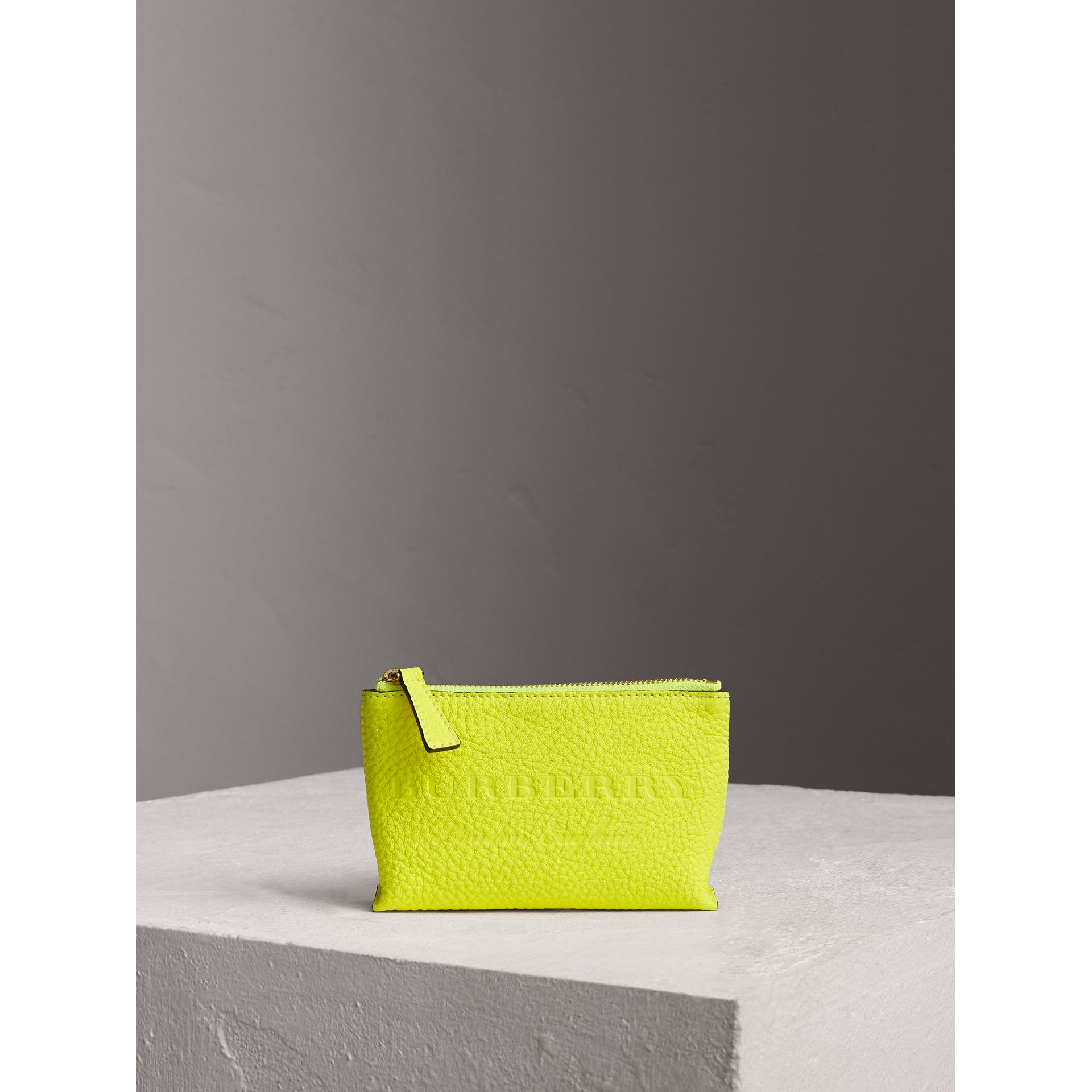 Small Embossed Leather Zip Pouch in Bright Yellow | Burberry - gallery image 1