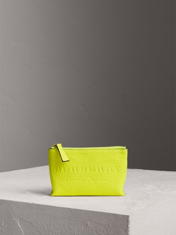 Small Embossed Leather Zip Pouch in Bright Yellow