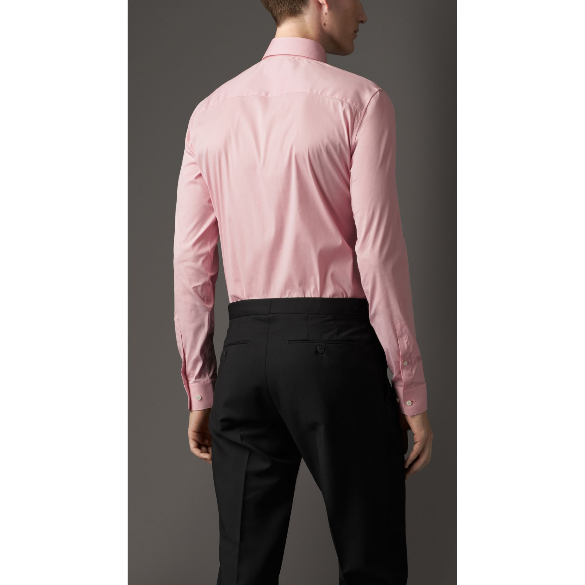Slim Fit Stretch Cotton Blend Shirt in City Pink - gallery image 2