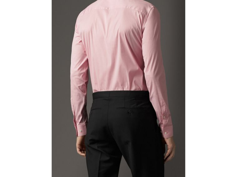 Slim Fit Stretch Cotton Blend Shirt in City Pink - cell image 1