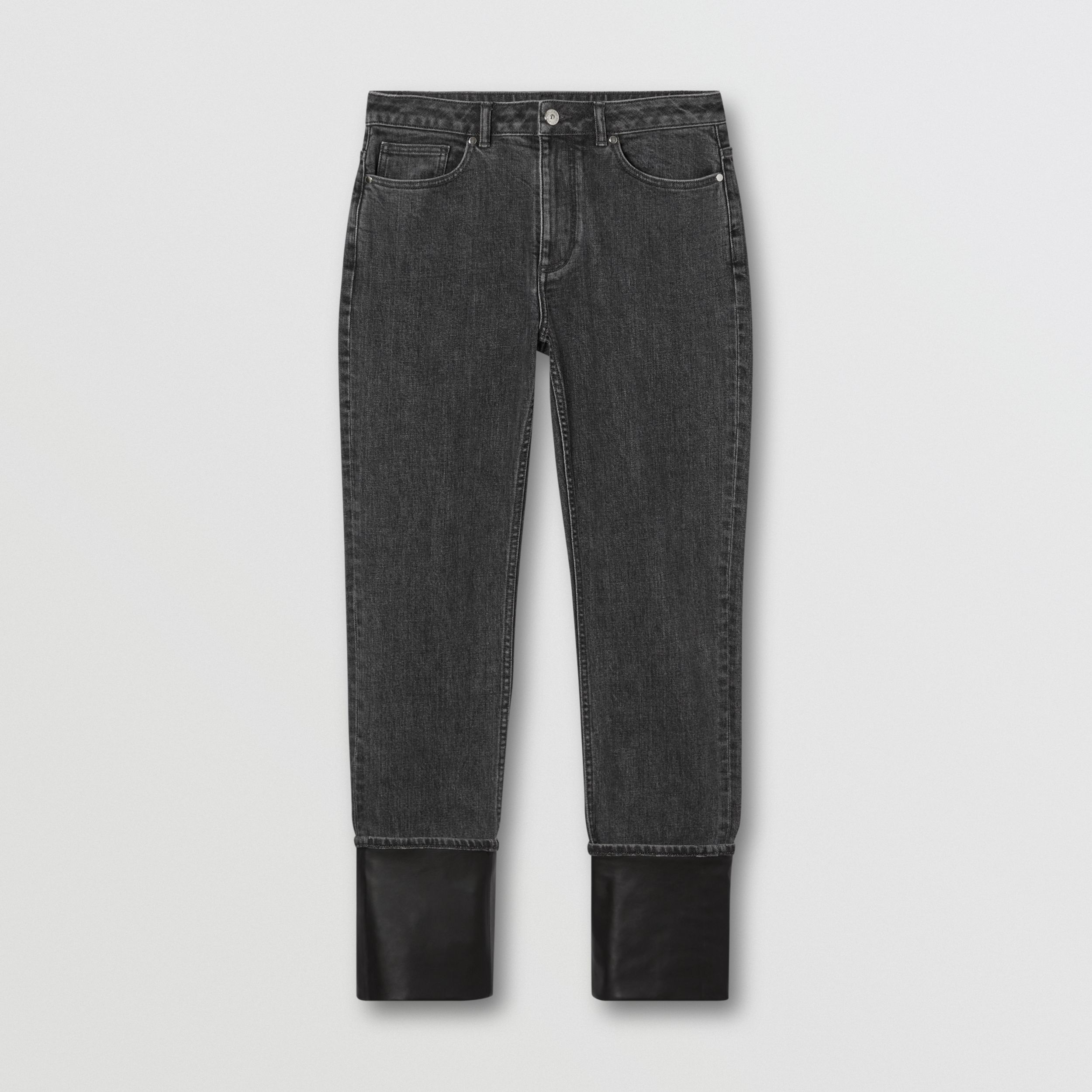 Straight Fit Contrast Cuff Washed Jeans in Grey - Women | Burberry - 4