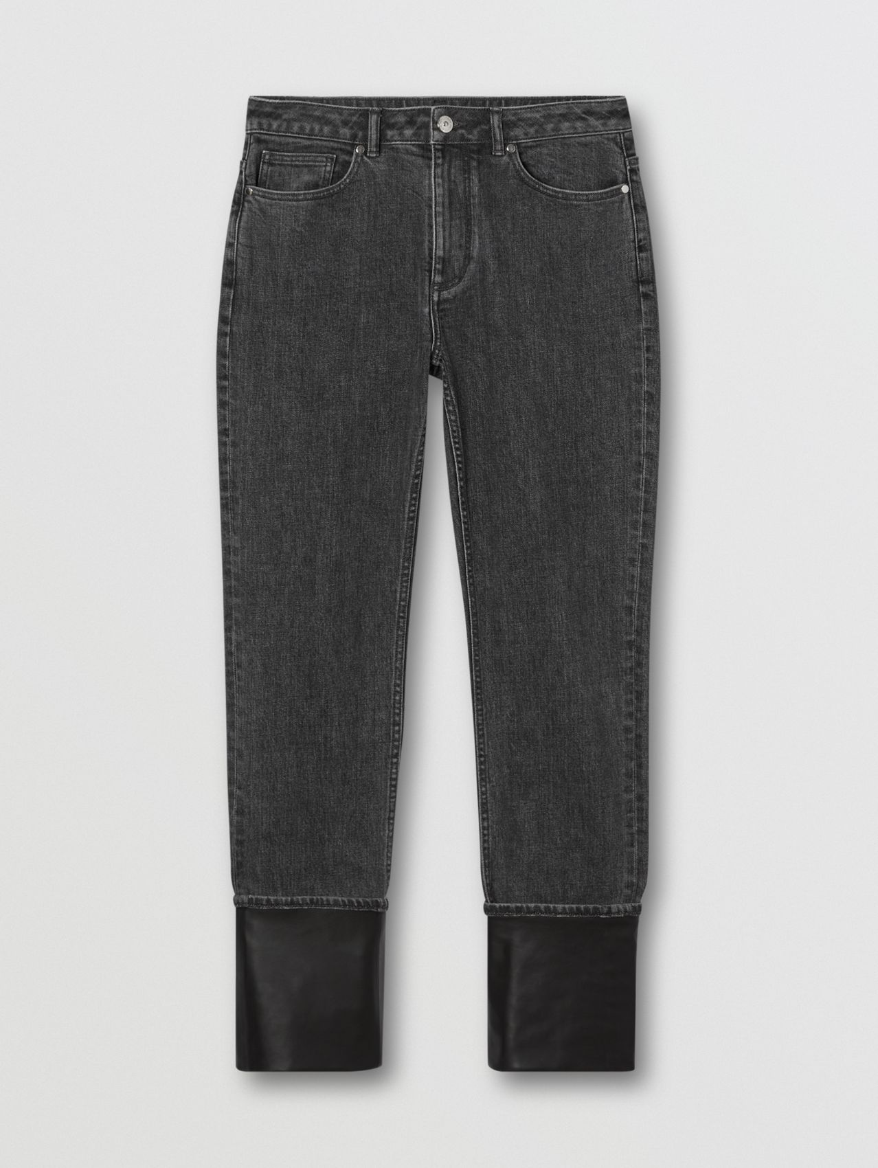 Straight Fit Contrast Cuff Washed Jeans in Grey