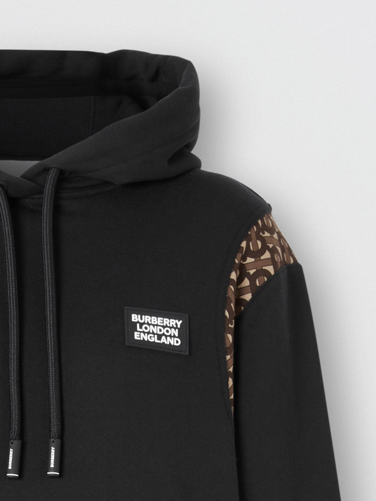 Monogram Print Panel Cotton Oversized Hoodie in Black