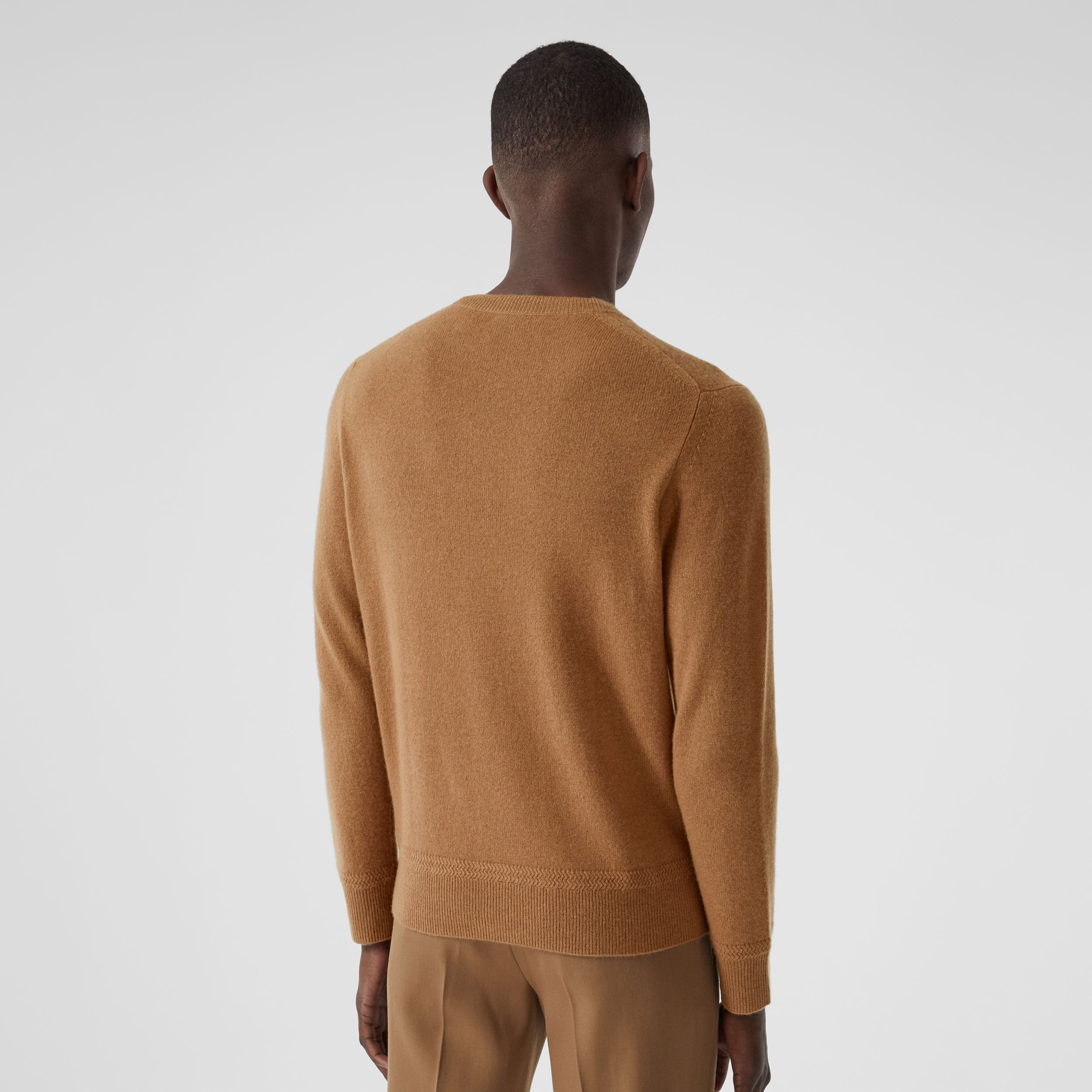 Monogram Motif Cashmere Sweater in Camel - Men | Burberry Singapore - 3