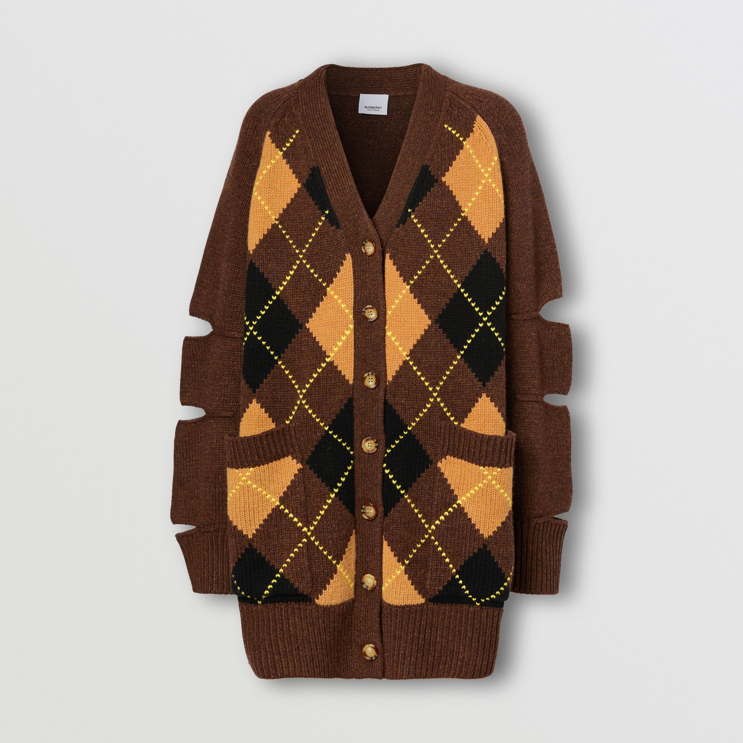 Cut-out Detail Argyle Intarsia Wool Cashmere Cardigan in Dark Khaki - Women | Burberry - 4