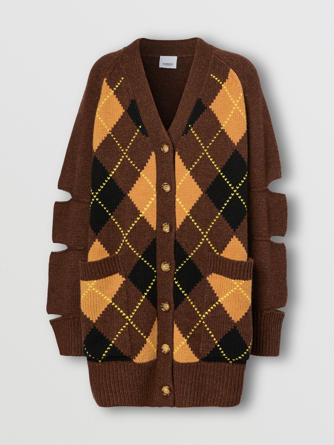 Cut-out Detail Argyle Intarsia Wool Cashmere Cardigan in Dark Khaki